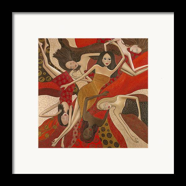 Female Framed Print featuring the painting Vermilion Dream by Denise Daffara