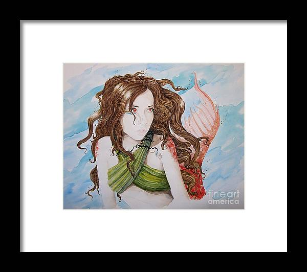 Fantasy Framed Print featuring the painting Vermillion Mermaid by Theresa Higby