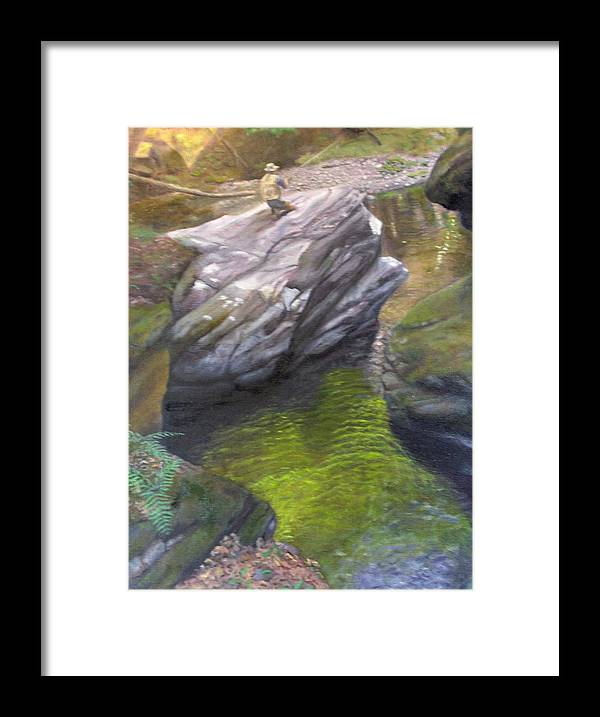 Landscape Framed Print featuring the painting Vermont Fisherman by Laurel Ellis