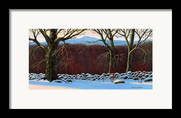 Landscape Framed Print featuring the painting Vermont Stone Wall by Frank Wilson