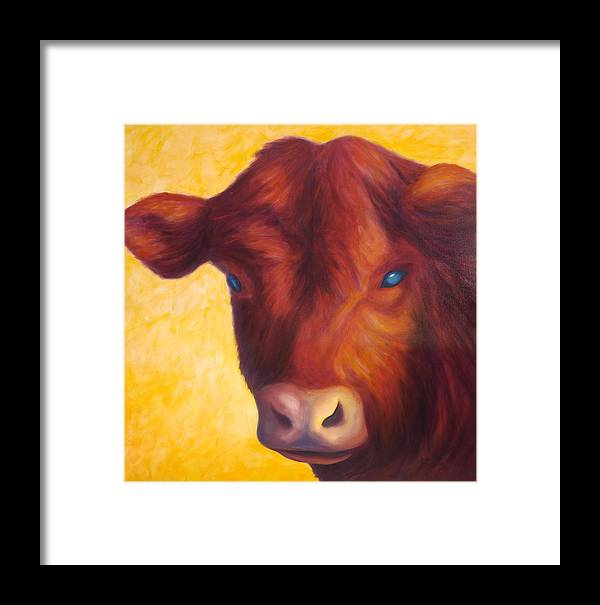 Bull Framed Print featuring the painting Vern by Shannon Grissom