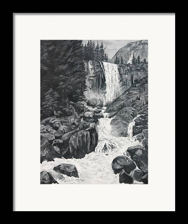 Landscape Framed Print featuring the painting Vernal Falls Black And White by Travis Day