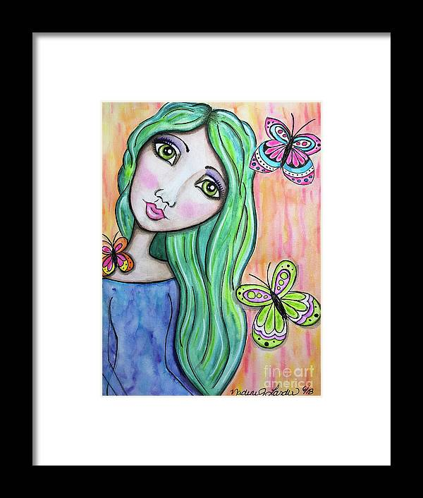 Whimsical Character Framed Print featuring the painting Hazel by Nadine Larder