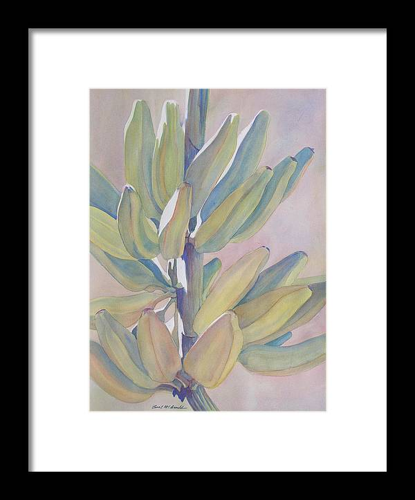 Bananas Framed Print featuring the painting Vertical Banana Bunch by Carol McDonald