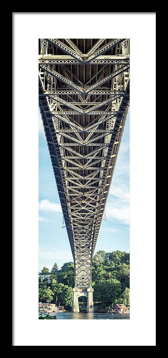 Bridge Framed Print featuring the photograph Vertical Bridge Panorama In Seattle Washington by Open Range