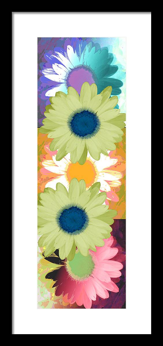 ruth Palmer Art Framed Print featuring the digital art Vertical Daisy Collage II by Ruth Palmer