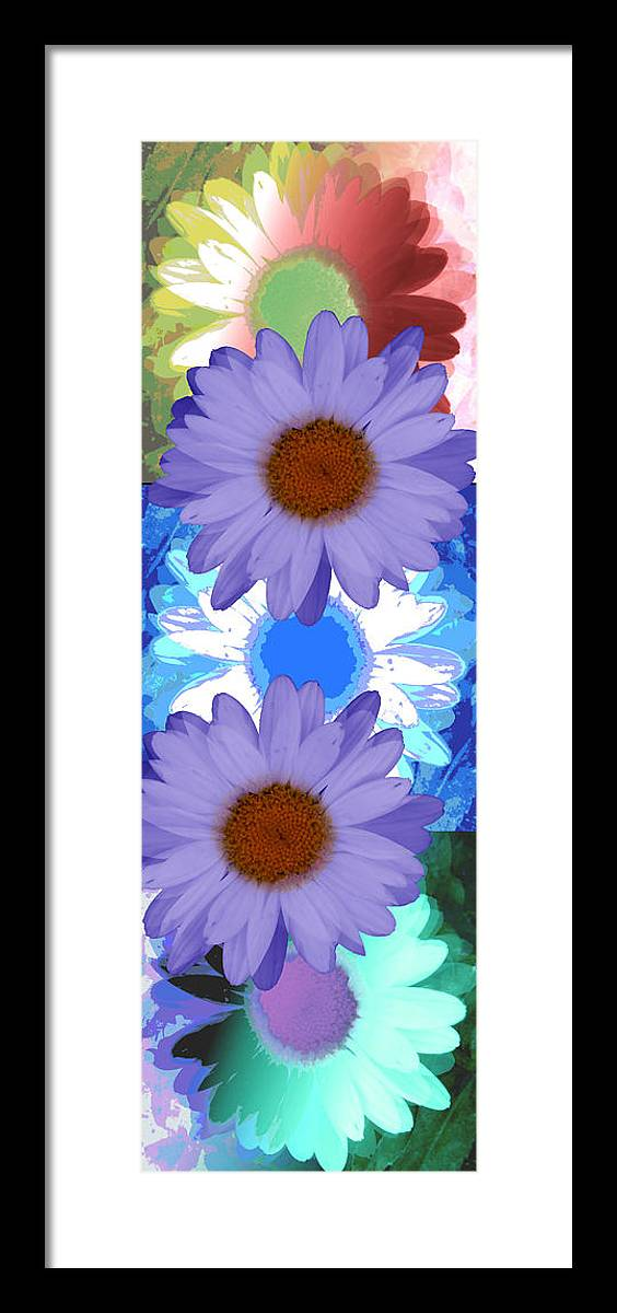 ruth Palmer Art Framed Print featuring the digital art Vertical Daisy Collage by Ruth Palmer