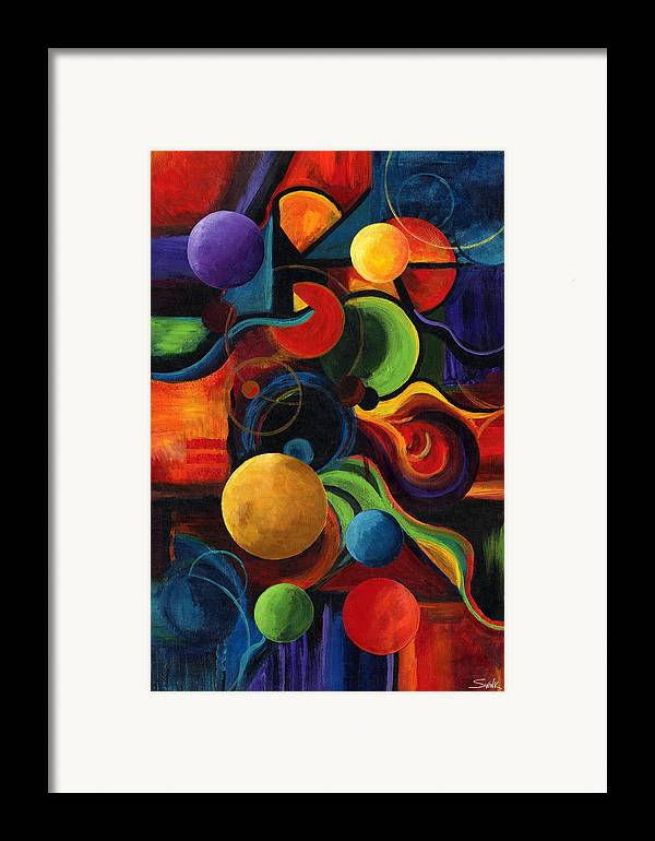 Synergy Framed Print featuring the painting Vertical Synergy by Laura Swink