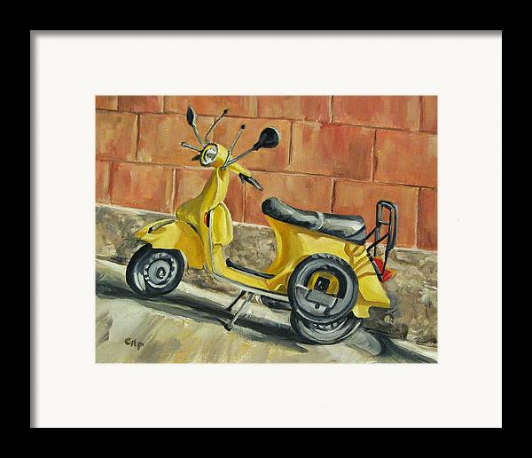 Vespa Framed Print featuring the painting Vespa 1 by Cheryl Pass
