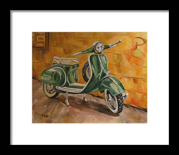 Vespa Framed Print featuring the painting Vespa 3 by Cheryl Pass
