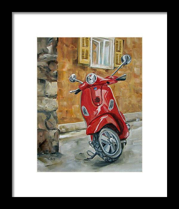 Vespa Framed Print featuring the painting Vespa 4 by Cheryl Pass