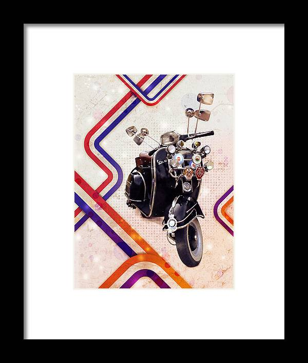 Scooter Framed Print featuring the digital art Vespa Mod Scooter by Michael Tompsett