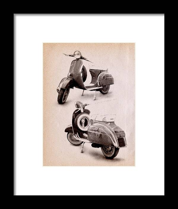 Vespa Scooter Framed Print featuring the digital art Vespa Scooter 1969 by Michael Tompsett