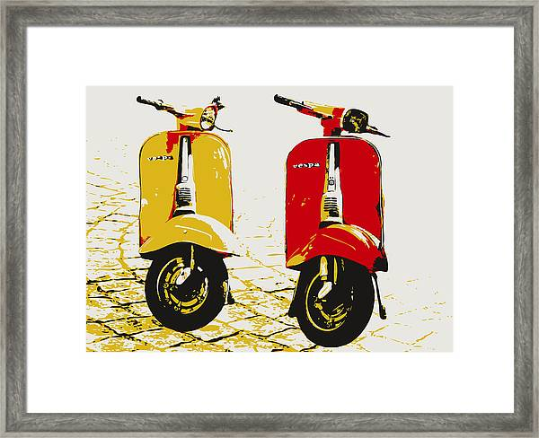 Vespa Scooter Pop Art Framed Print By Michael Tompsett
