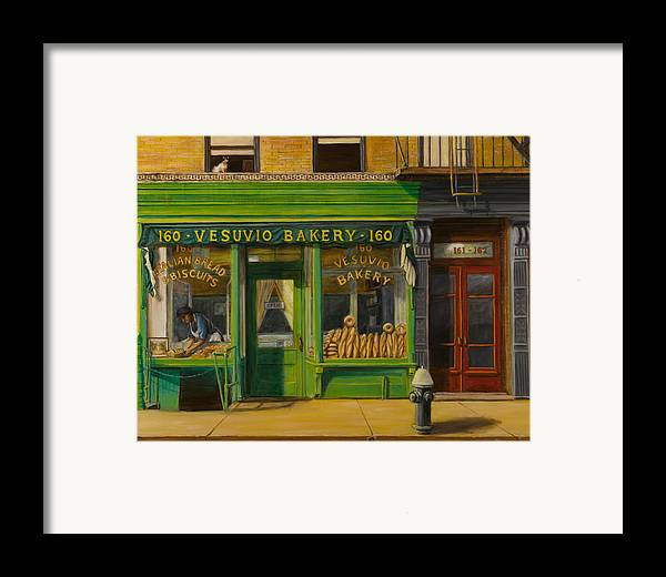 Vesuvio Bakery Framed Print featuring the painting Vesuvio Bakery In New York City by Christopher Oakley