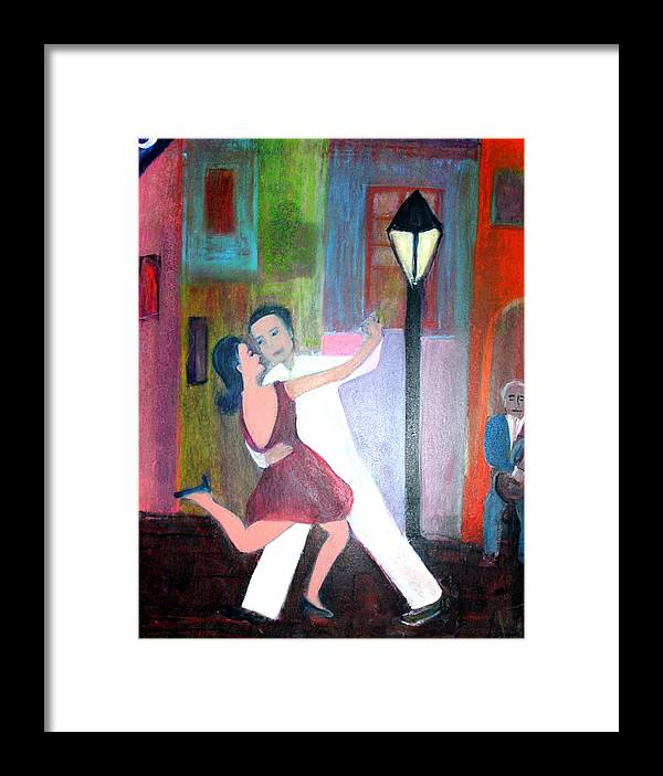 Urban Landscape Framed Print featuring the painting Veux Tu Tango by Michela Akers