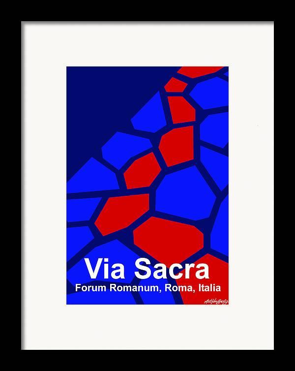 Via Sacra Framed Print featuring the digital art Via Sacra - Text by Asbjorn lonvig