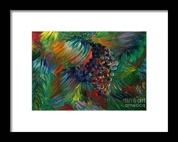 Grapes Framed Print featuring the painting Vibrant Grapes by Nadine Rippelmeyer