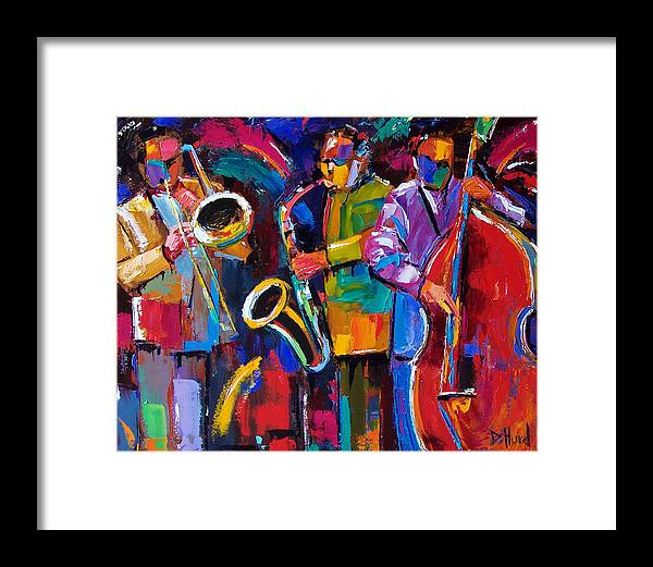 Jazz Framed Print featuring the painting Vibrant Jazz by Debra Hurd