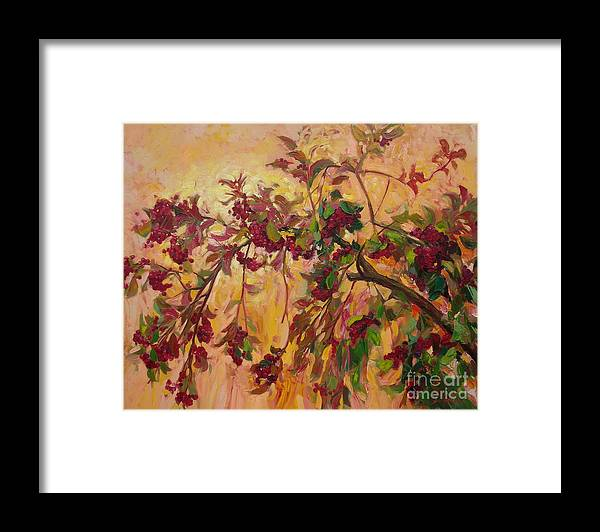 Viburnum Framed Print featuring the painting Viburnum by Sergey Ignatenko