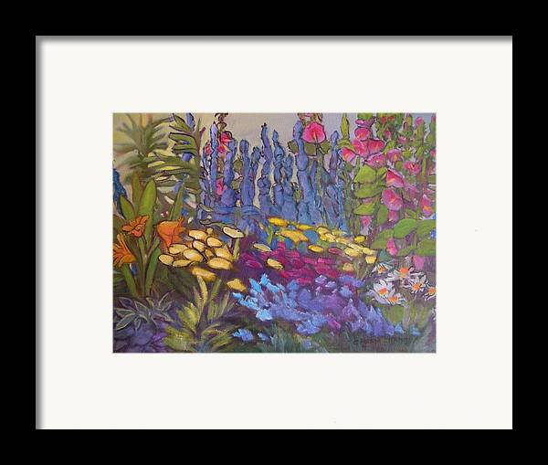 Oil Painting Framed Print featuring the painting Vic Park Garden by Carol Hama Chang