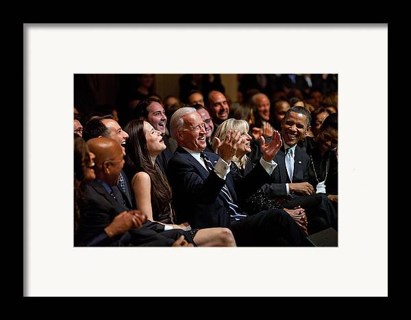 History Framed Print featuring the photograph Vice President Joe Biden Flanked by Everett