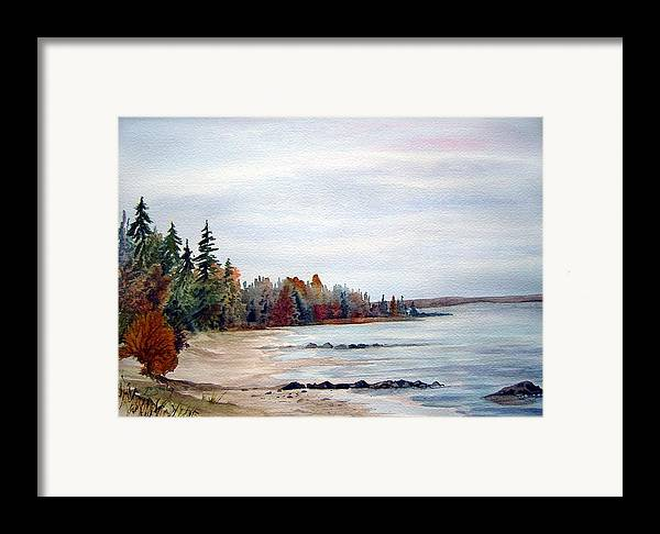 Victoria Beach Manitoba Shoreline Framed Print featuring the painting Victoria Beach In Manitoba by Joanne Smoley