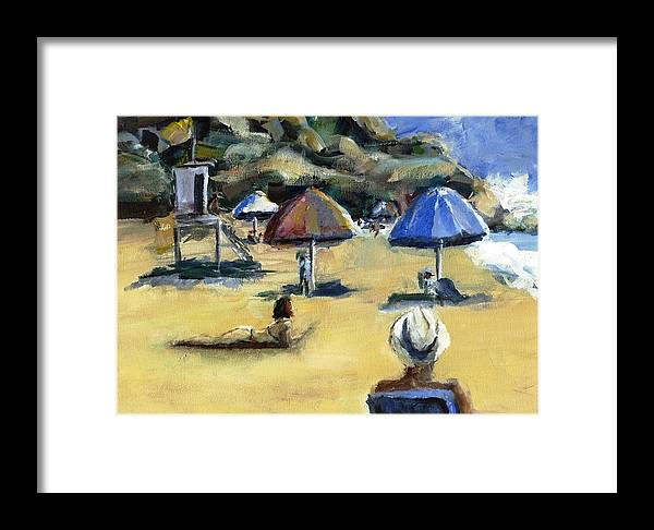 Umbrella Framed Print featuring the painting Victoria Beach White Hat by Randy Sprout
