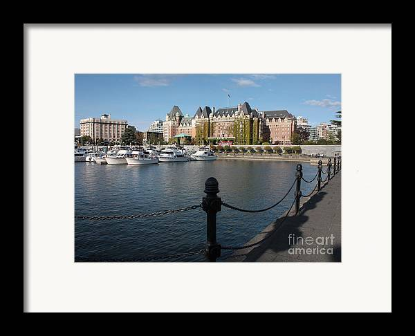 Victoria Framed Print featuring the photograph Victoria Harbour With Railing by Carol Groenen