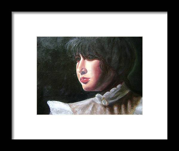 Girl In White Blouse Framed Print featuring the painting Victorian Blouse by Toni Berry