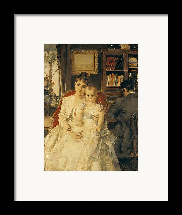 All Framed Print featuring the painting Victorian Family Scene by Alfred Emile Stevens