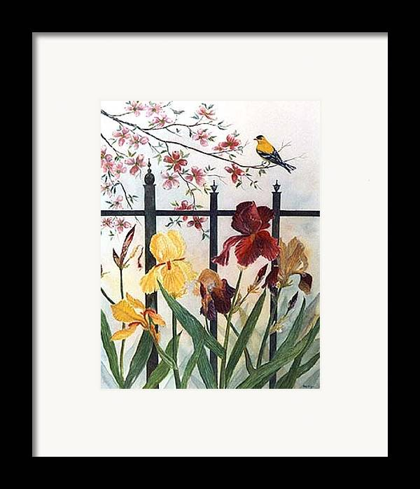Irises; American Goldfinch; Dogwood Tree Framed Print featuring the painting Victorian Garden by Ben Kiger