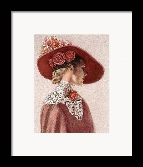 Victorian Lady Framed Print featuring the painting Victorian Lady In A Rose Hat by Sue Halstenberg