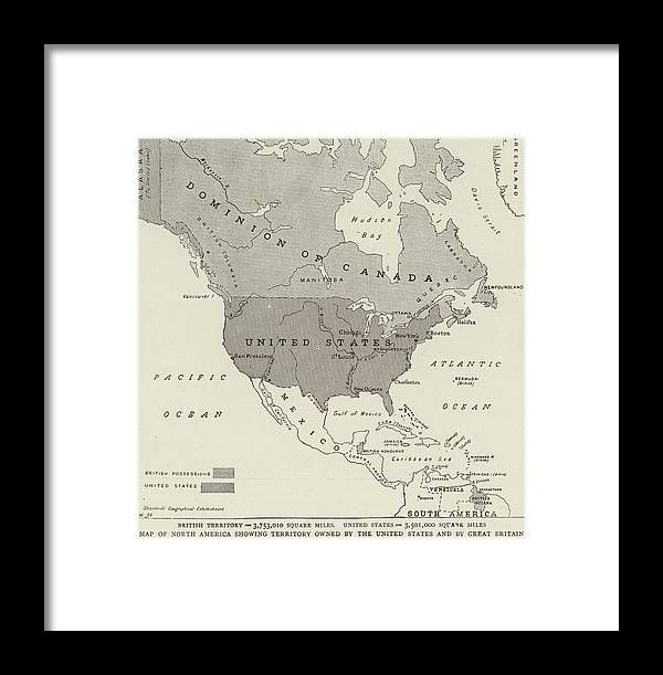 Victorian Map Of North America Showing Territory Owned By The United States  And By Great Britain Framed Print