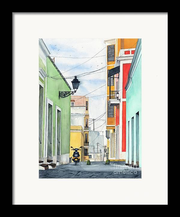 San Juan Framed Print featuring the painting Viejo San Juan by Tom Dorsz
