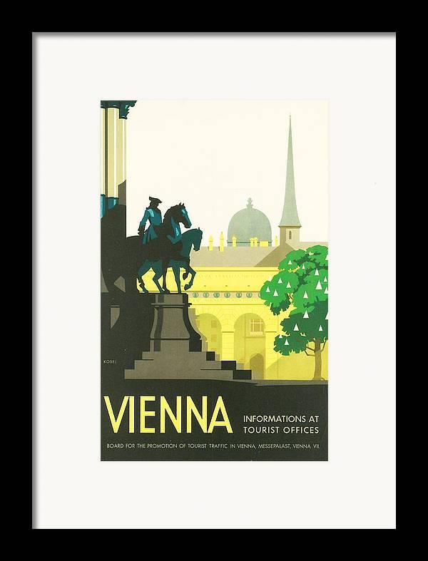 Vintage Travel Framed Print featuring the digital art Vienna by Georgia Fowler