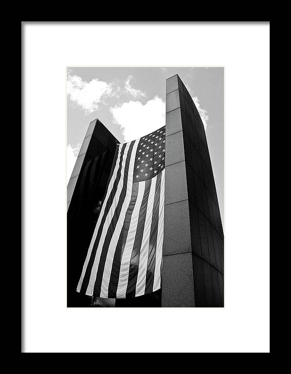Black And White Photography Framed Print featuring the photograph Viet Nam Veteran's Memorial by Wayne Denmark