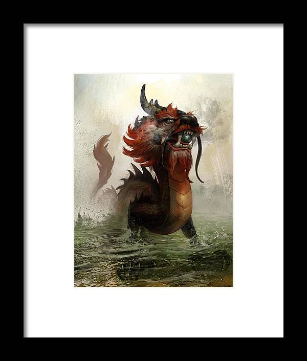 Vietnamese Dragon Framed Print featuring the mixed media Vietnamese Dragon by Steve Goad