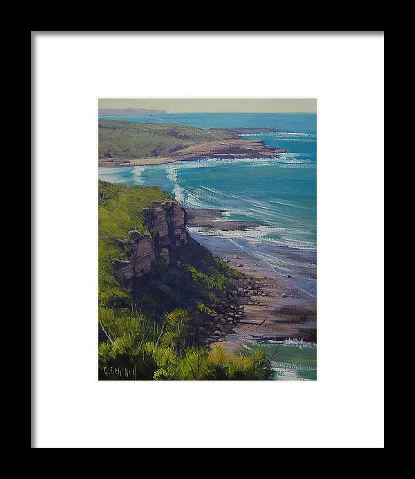 Art Framed Print featuring the painting View Across Frazer Beach Nsw Australia by Graham Gercken