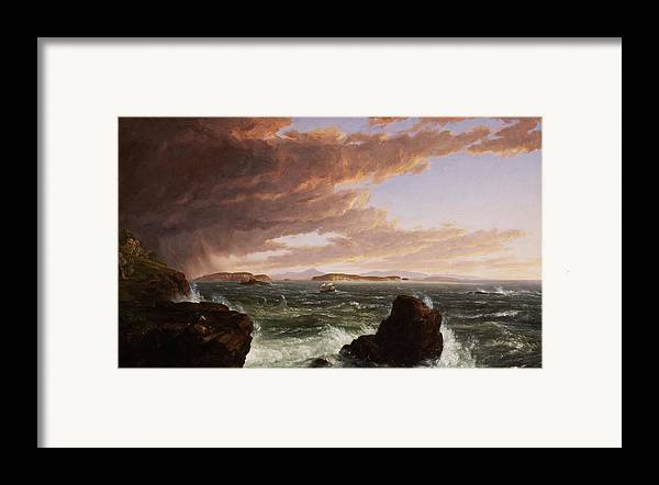 Stormy Weather Framed Print featuring the painting View Across Frenchman's Bay From Mt. Desert Island After A Squall by Thomas Cole
