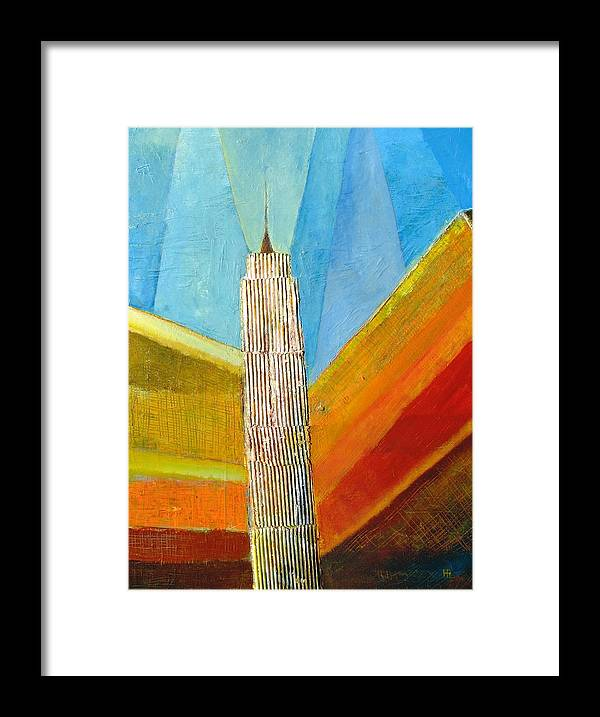 Abstract Cityscape Framed Print featuring the painting View From 34th St by Habib Ayat