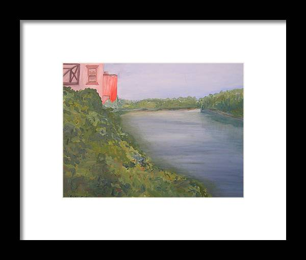 Landscape River Water Nature Framed Print featuring the painting View From Edmund Pettus Bridge by Patricia Caldwell