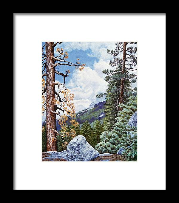 Landscape Paintings Framed Print featuring the painting View From High Castle by Jiji Lee