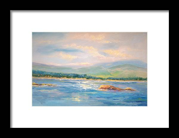 Pebble Beach Framed Print featuring the painting View From Pebble Beach Grille by Ginger Concepcion