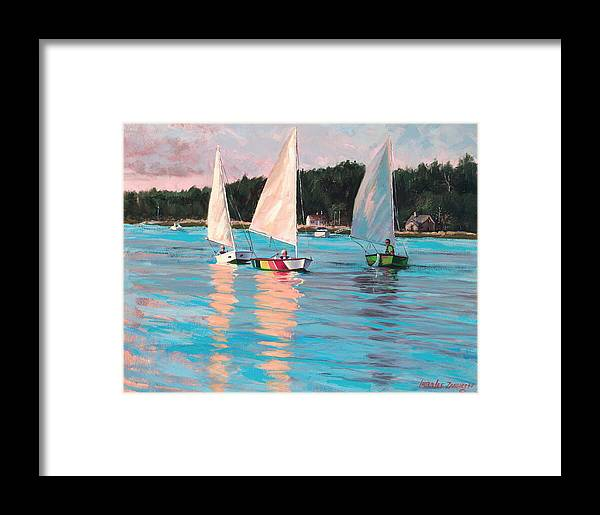 Actrylic Painting Framed Print featuring the painting View From Rich's Boat by Laura Lee Zanghetti