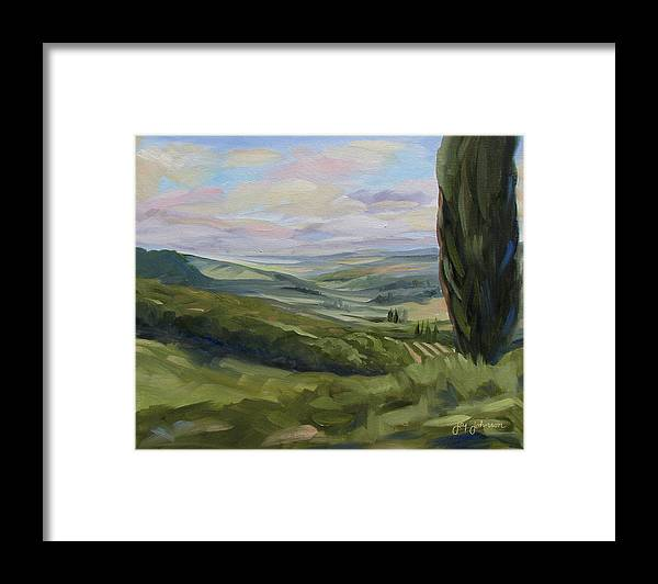 Landscape Framed Print featuring the painting View From Sienna by Jay Johnson