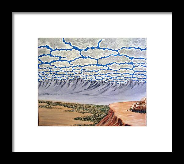 Desertscape Framed Print featuring the painting View from the Mesa by Marco Morales