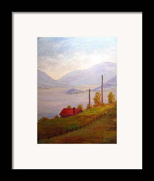Italy Framed Print featuring the painting View Of Bellagio Lake Como Italy by Belinda Consten