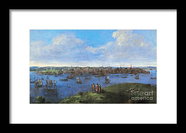 1738 Framed Print featuring the photograph View Of Boston, 1738 by Granger