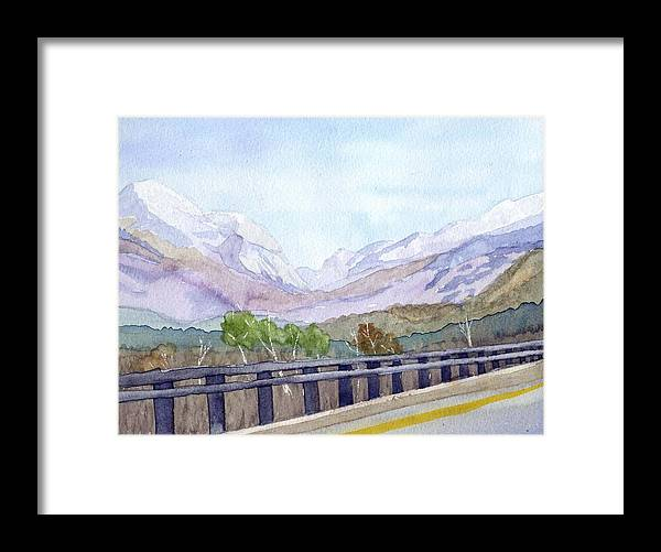 Franconia Notch Framed Print featuring the painting View of Franconia Notch by Sharon E Allen